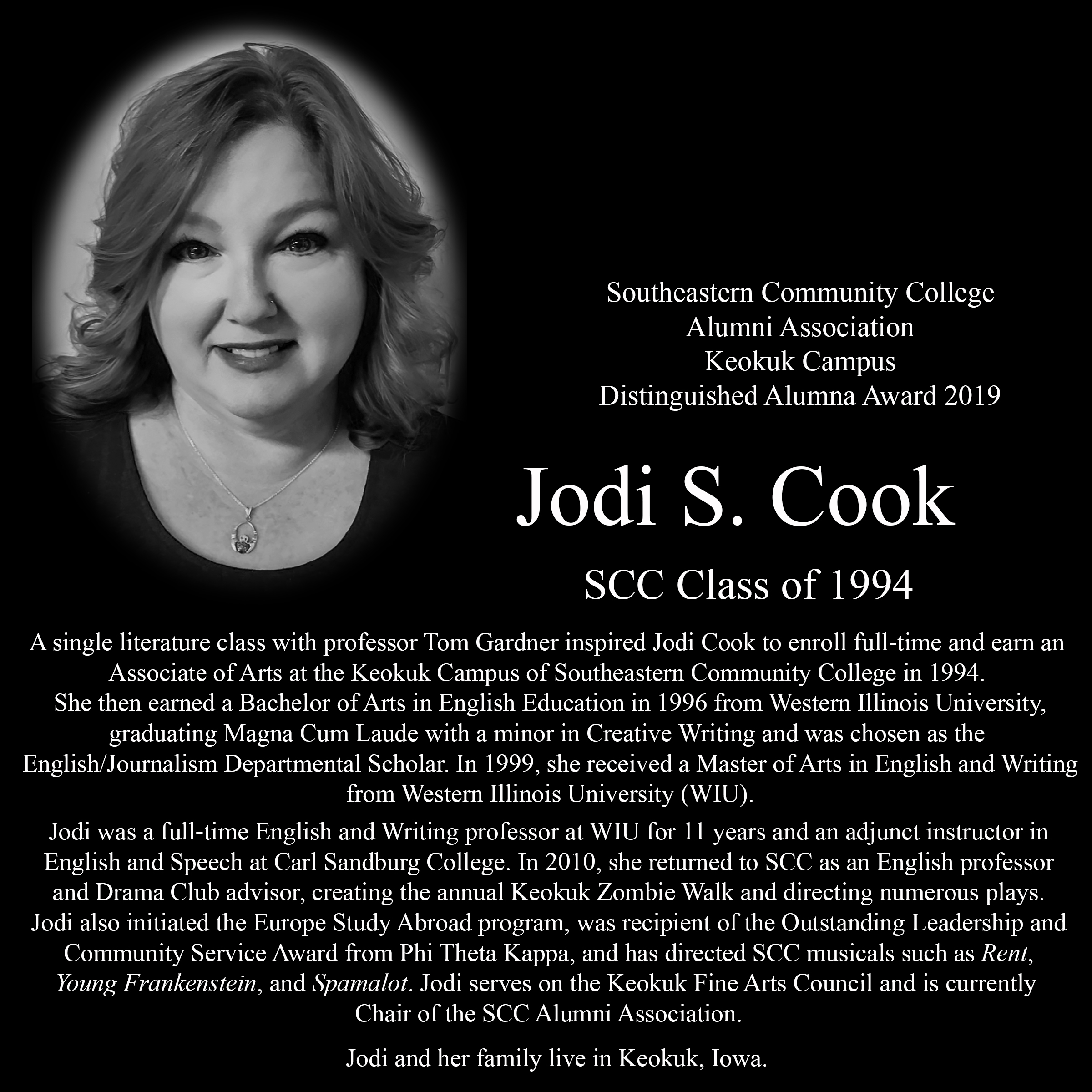 Photo Plaque of Jodi Cook, 2019 Keokuk Dist. Alum