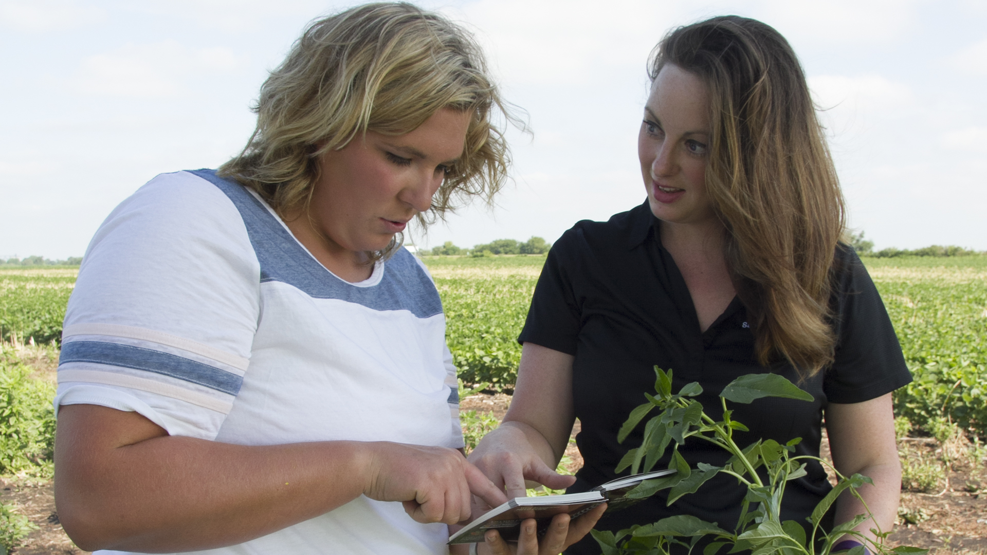 Female ag instructor teaches female student in field