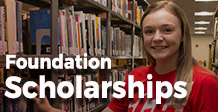 Smiling female- text says Foundation Scholarships