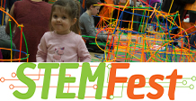 STEMFest Logo with little girl playing with toys