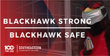 Text- Blackhawk Strong Blackhawk Safe. Image-Blackhawk mascot