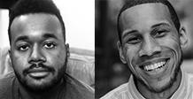 Poets Watkins and Emmanuel smile