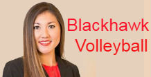 Woman smiling at camera with text that says Blackhawks Volleyball.